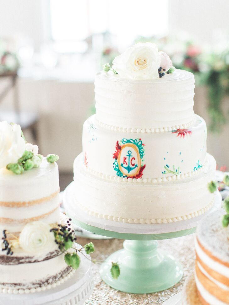 Guests were treated to a three-tier buttercream cake baked by the Cakabakery and finished with a colorful, anchor detail. Other dessert items included chocolate-covered strawberries and cherries.