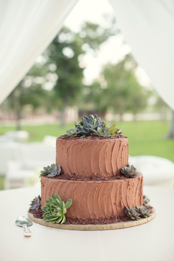 Will's chocolate groom's cake had two tiers covered in textured chocolate buttercream frosting. Chocolate shavings and succulents around each tier channeled the natural wedding style.