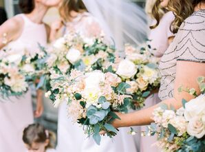 Romantic Blush Stock, Rose and Eucalyptus Bouquets