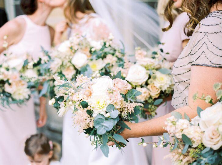 Romantic Blush Stock, Rose and Eucalyptus Bouquets