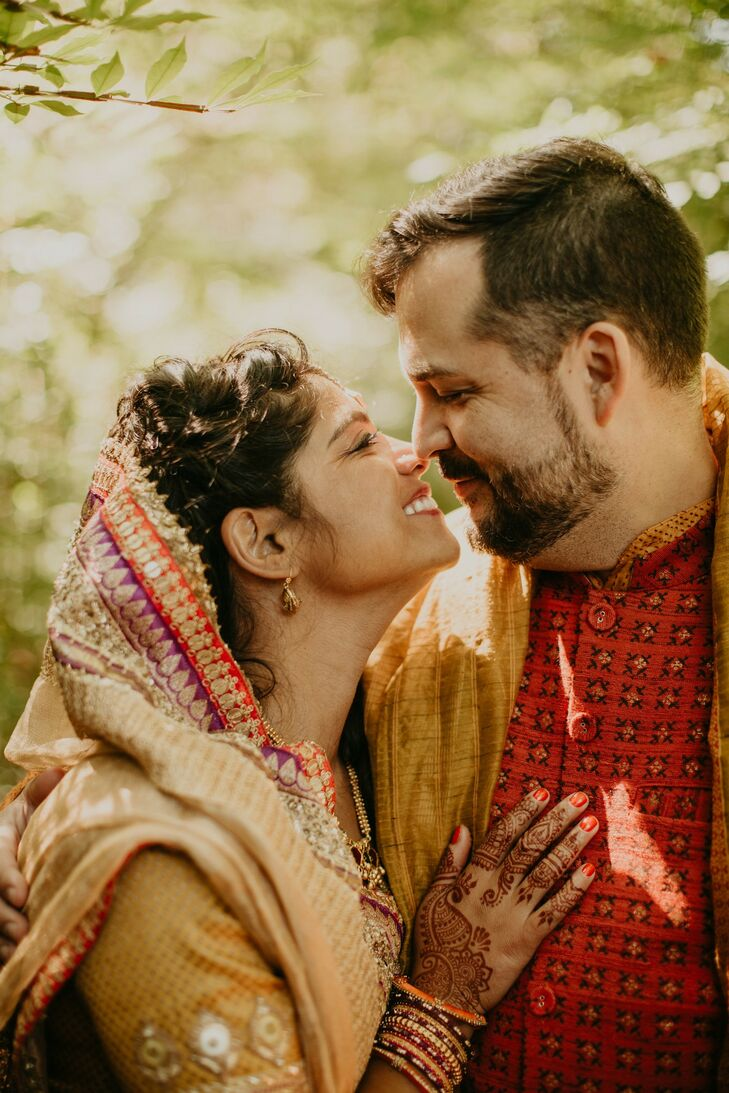Couple Portraits During Indian Wedding at Overbrook House in Buzzards Bay, Massachusetts