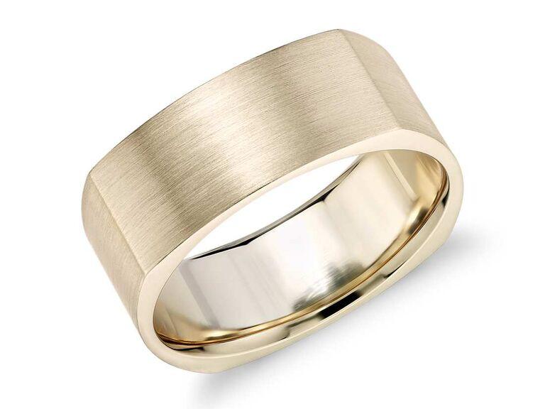 Blue Nile matte square Eurofit wedding ring