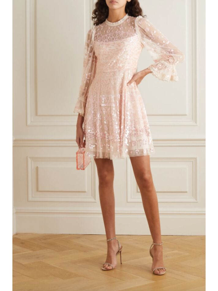 Embellished mini dress with long sleeves and ruffled neckline