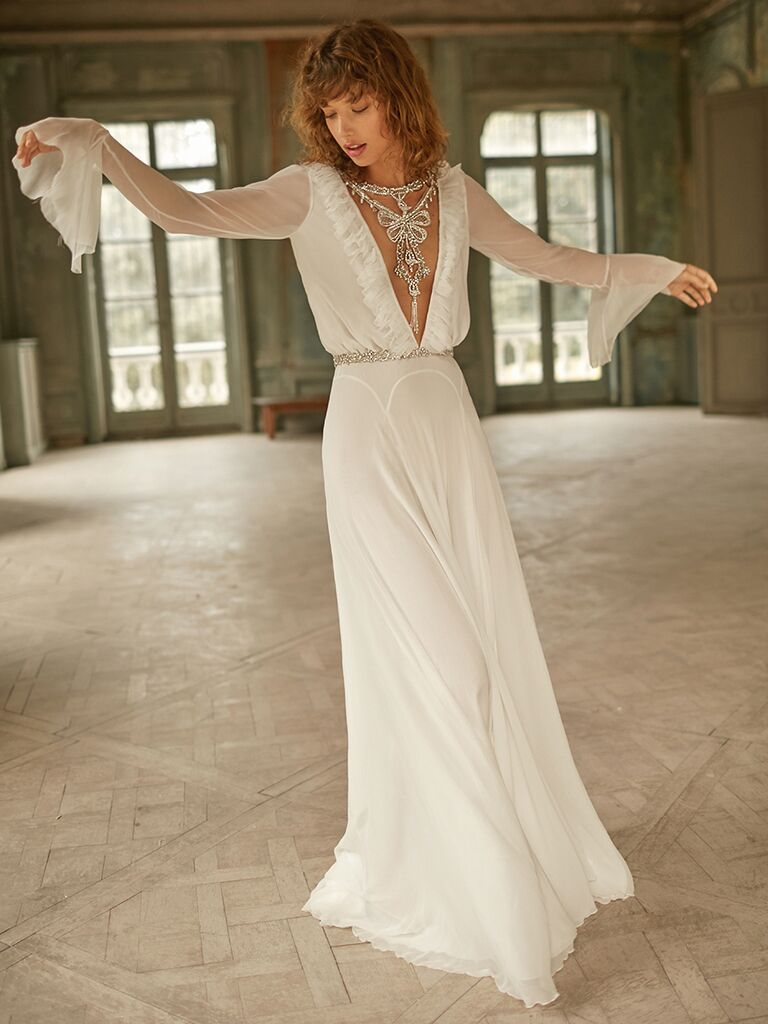 Dana Harel dress with V-neckline and statement sleeves