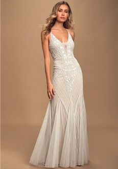 Lulus This I Promise You White and Nude Beaded Sequin Maxi Dress Mermaid Wedding Dress