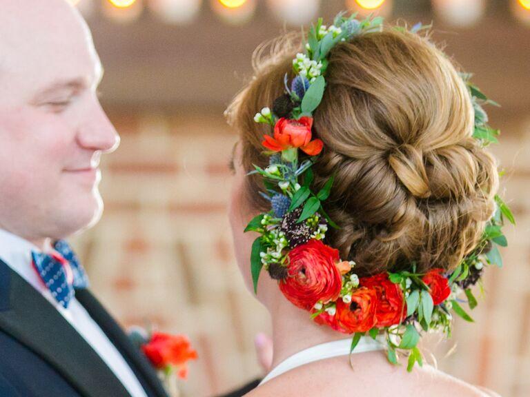 Red bridal flower crown