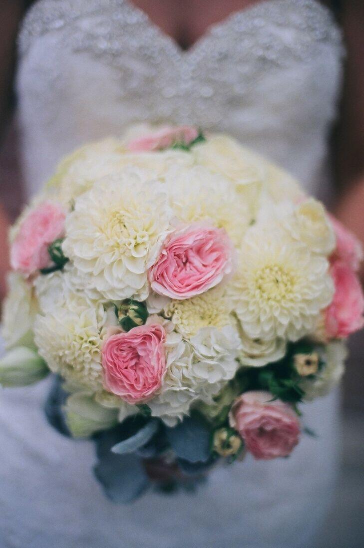 White Dahlia and Pink Garden Rose Bouquet