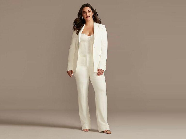 white satin wedding pantsuit