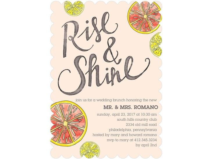 Rise and Shine post wedding brunch invitation