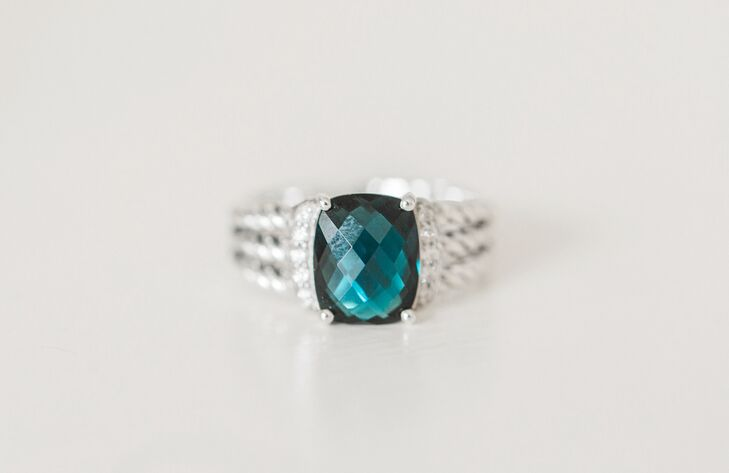 Blue Gemstone and Diamond Ring