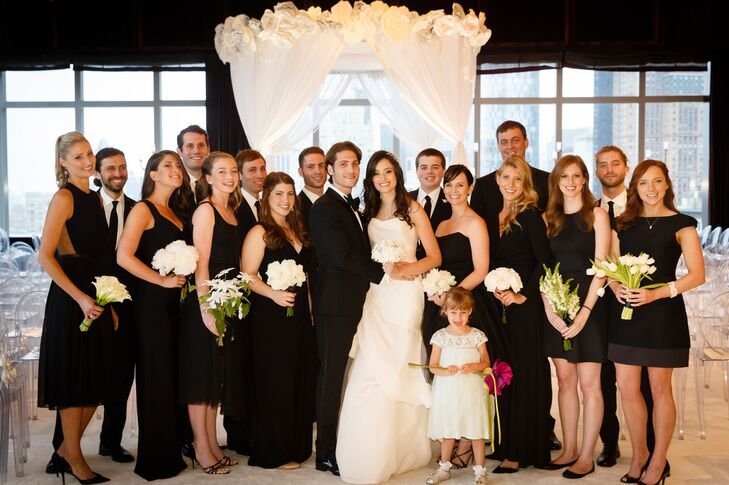 "Not wanting her bridesmaids to spend money on dresses they didn't like and wouldn't wear again, she told the girls to wear any black dress they wanted for the wedding day. ""I think that black is always stylish and looks good on everyone,"" says Allison. ""It was fun to see how each dress reflected the personality of the girl wearing it."""
