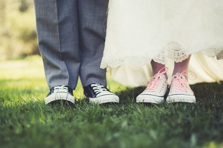 Sarah wore white Converse sneakers with pink laces, and Kolton sported black Converse sneakers with white laces.