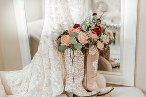 Elegant Lace Dress and Boots with Matching Floral Details