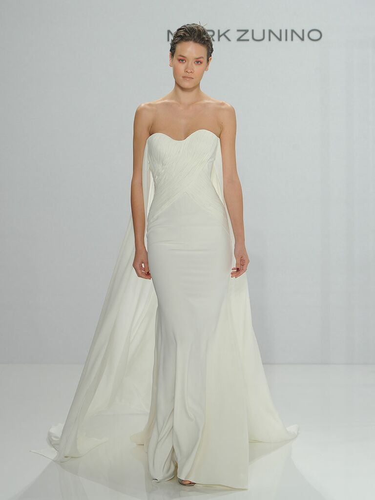 2053684da935 Mark Zunino for Kleinfeld Fall 2017 strapless ivory column gown with cross  draped tulle bodice and