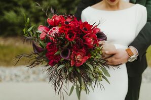 Red Bouquet with Anemones, Calla Lilies, Orchids and Berries