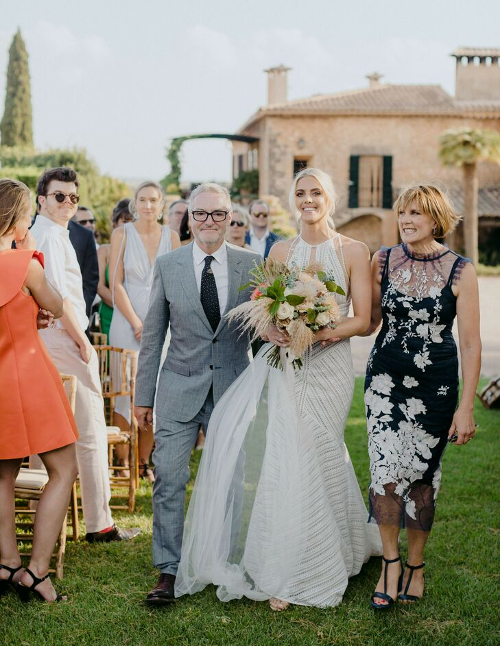 Bridal Processional for Ceremony at Finca Es Cabas in Mallorca, Spain