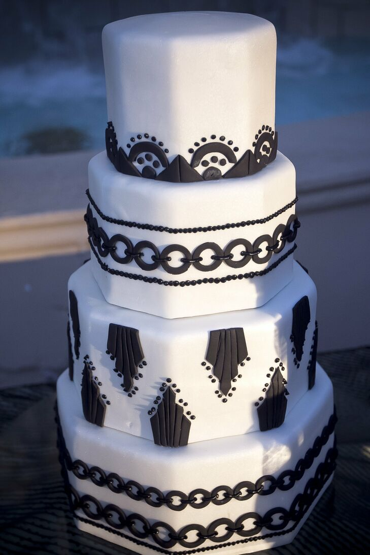 The octagonal cake was decorated in an Art Deco style with bold black fondant.