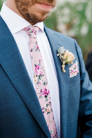 Groom in Pink Floral Print Tie and Pocket Square