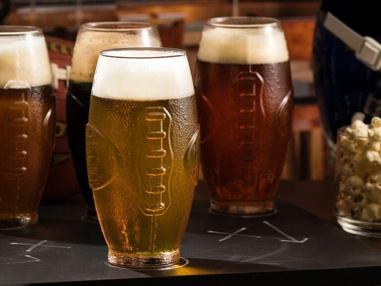 football shaped beer glasses