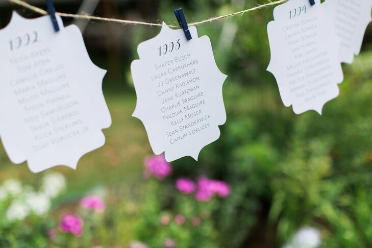 In lieu of traditional table numbers, Liz and Boris named each of their tables after a year. Each table featured a photo of the couple from the corresponding year, starting with 1985, the year they were born.