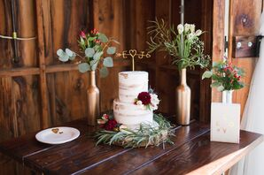 Semi-Naked Wedding Cake with Custom Topper