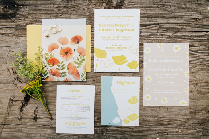Yellow Invitations with Flower Design