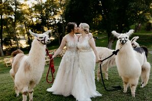 Same-Sex Brides with Llamas at Rustic North Carolina Wedding