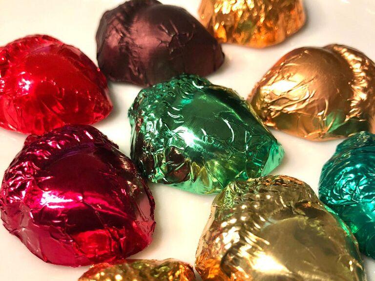 Chocolate acorns fall wedding favors