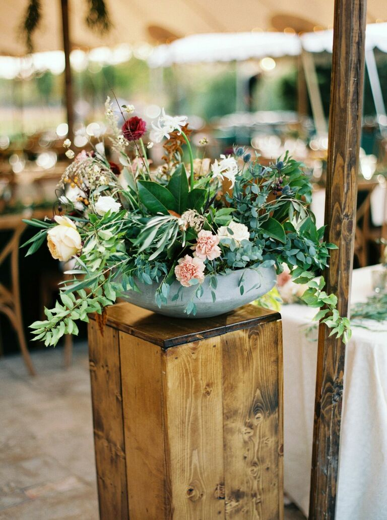 Loose floral arrangement with greenery
