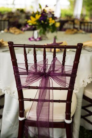 Brown Chiavari Chairs with Purple Bow