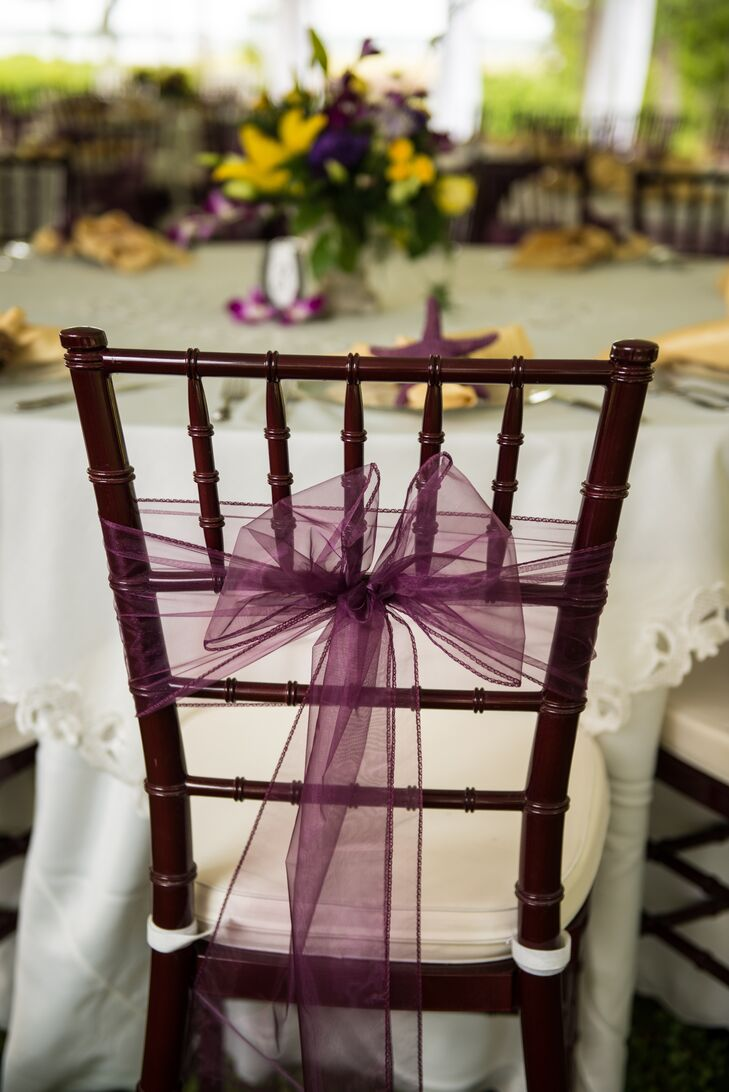 Brown Chiavari Chairs with Purple Bow