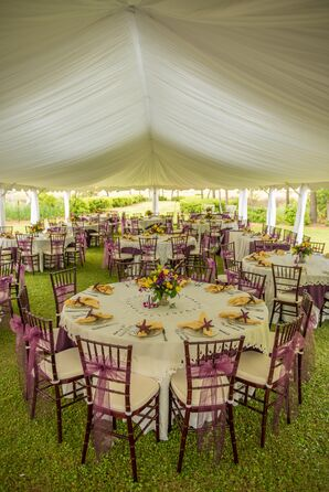 Purple and Yellow Tented Reception