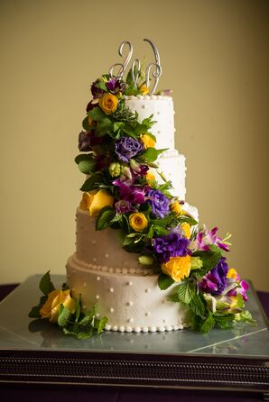 Buttercream Cake with Lush Fresh Flower Cascade