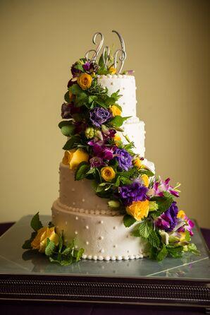 Buttercream Cake with Lush Fresh Flower Cascade