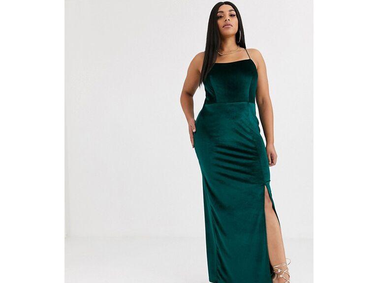 Long green velvet winter wedding guest dress