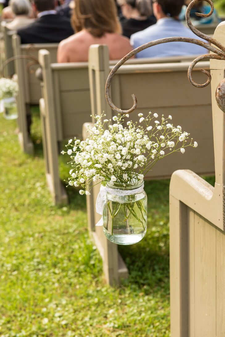 Hanging Mason Jars with Baby's Breath