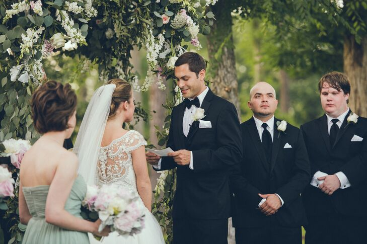 Ceremony Vows in Backyard Garden Party