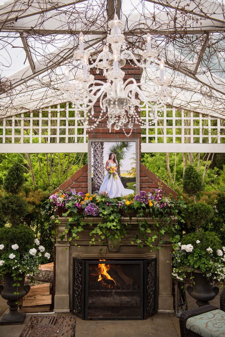 Romantic Outdoor Fireplace and Chandelier