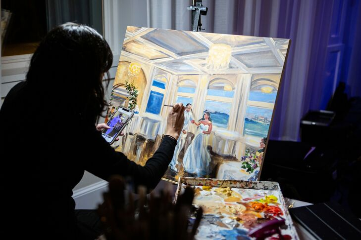 Live Painter at Military Wedding at Belle Mer in Newport, Rhode Island