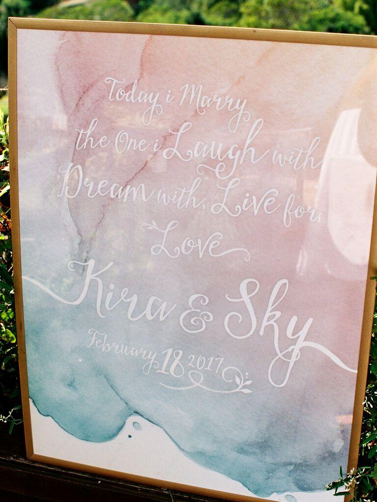 Tie-dye watercolor wedding sign