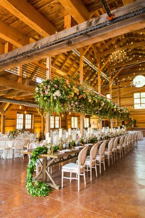 Head Table with Hanging Flower Installation