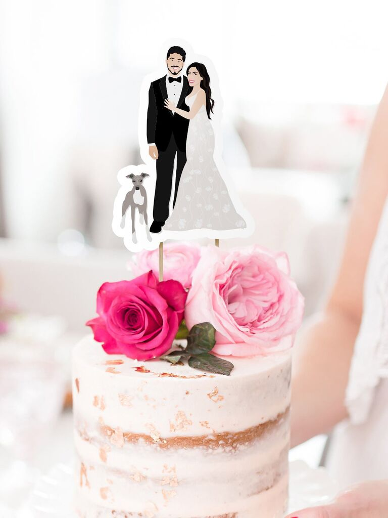 Custom portrait wedding cake topper