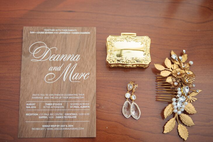 The invitations were printed in wood veneer with ivory lettering.