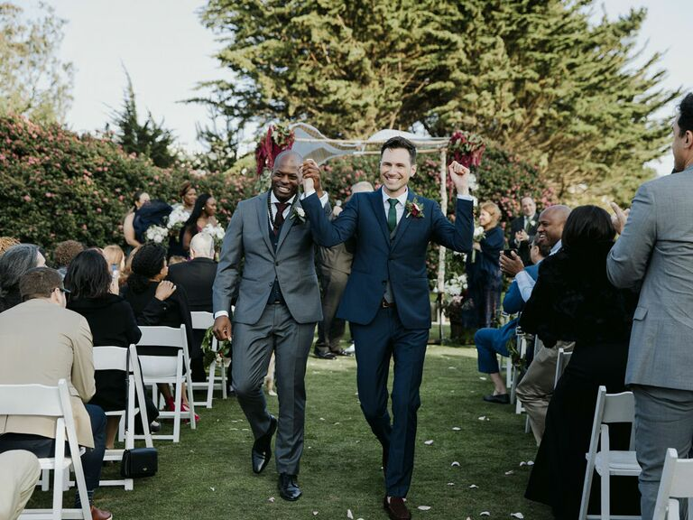 Grooms wedding ceremony recessional