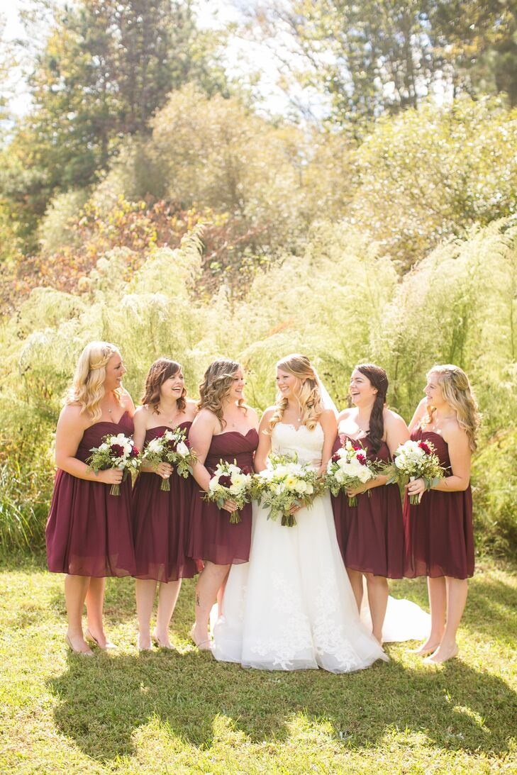 Short Burgundy Strapless Bridesmaid Dresses