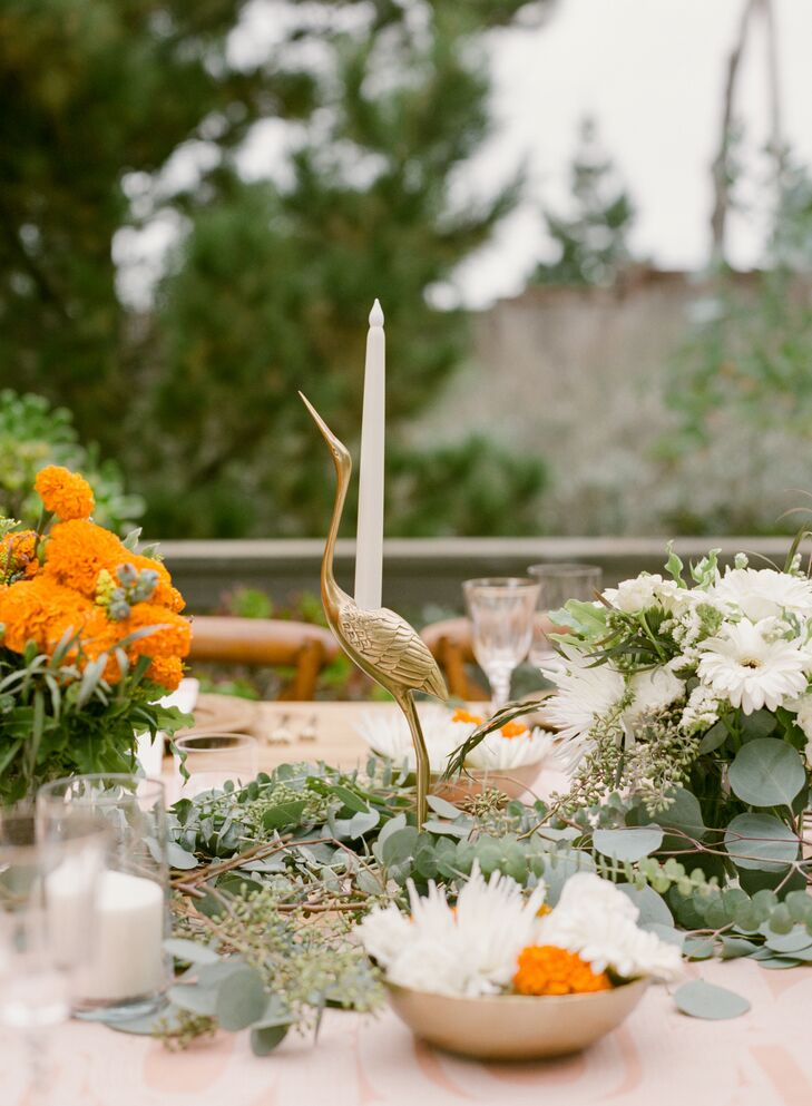 Gold Crane Candle Holder on Table