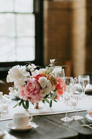Centerpiece of Peonies and Roses