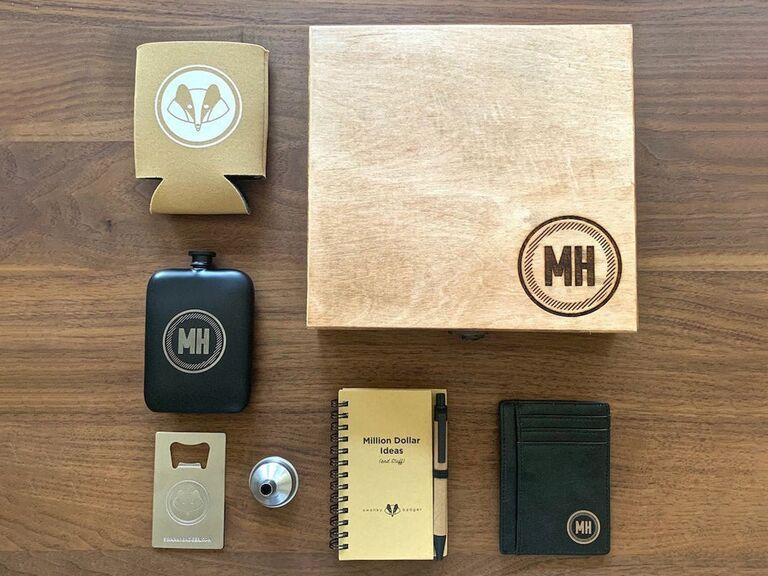 Monogram groomsmen gift set