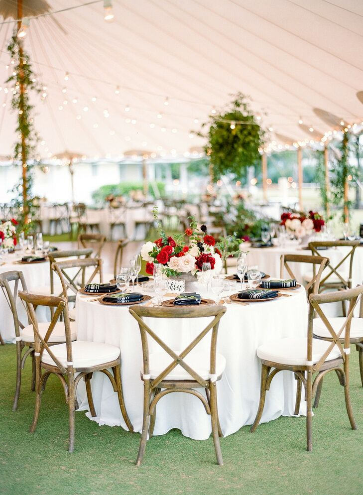 Tented Reception with Cross-Back Chairs at The Gasparilla Inn in Boca Grande, Florida