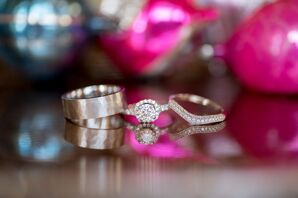 Bride and Groom's Wedding and Engagement Rings